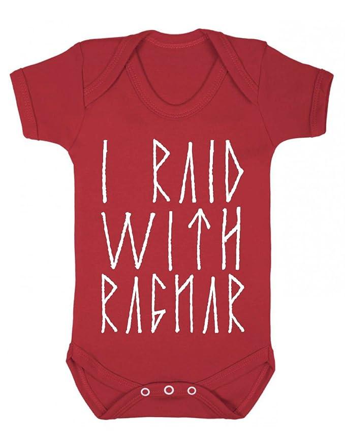 505344b54 Vikings I raid with ragnar Baby Playsuit/Bodysuit: Amazon.co.uk: Clothing