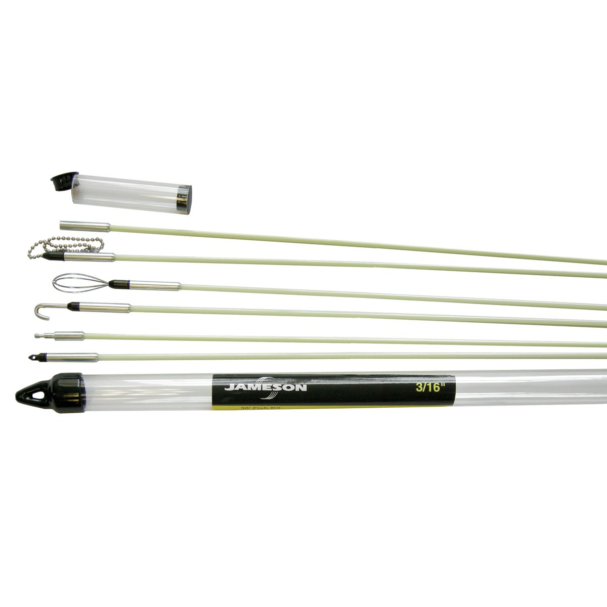 Jameson 7S-65K Deluxe Glow Rod Wire Electrical Fishing Kit with Accessories and 30 Total Feet of Fiberglass Rod
