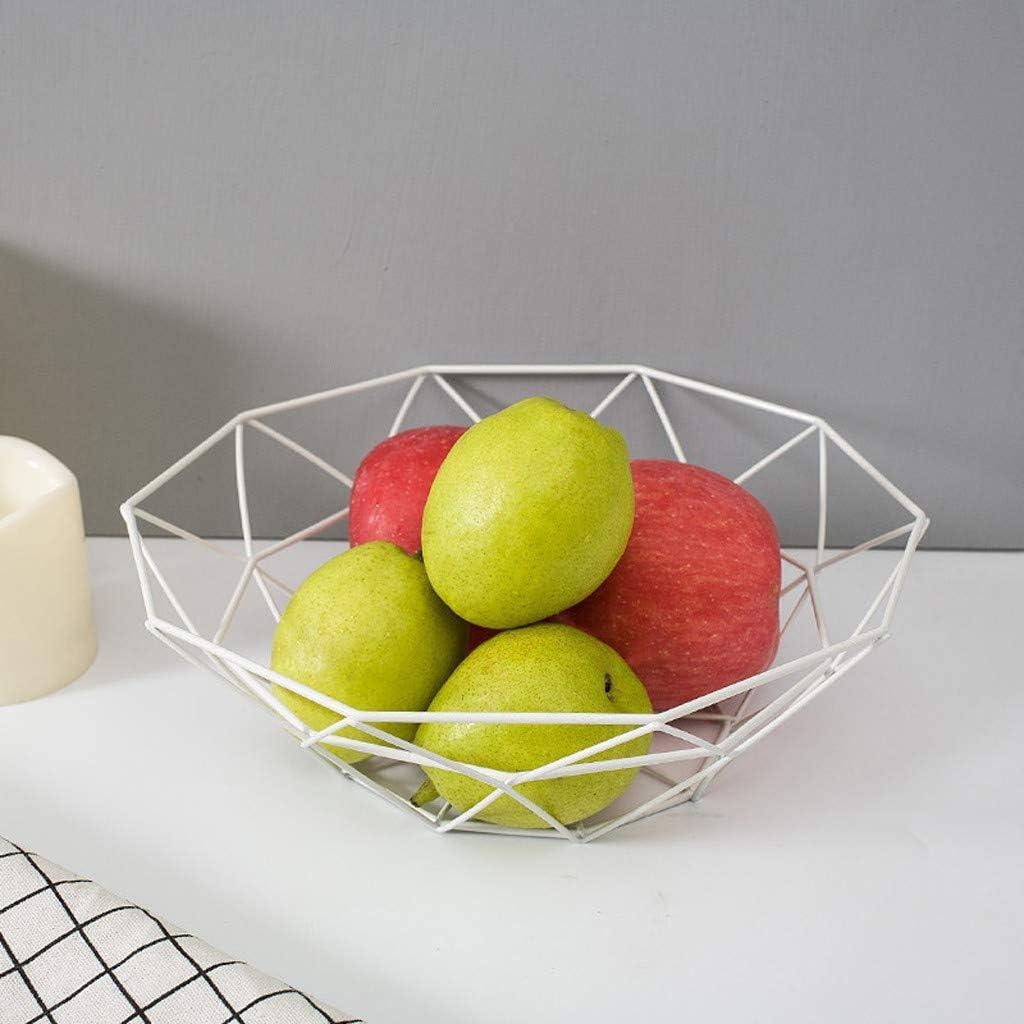 Geometric Fruit Vegetable Wire Basket Metal Bowl Kitchen Storage Desktop Display Fruit Vegetable Wine Trays Desktop Display Color : Black