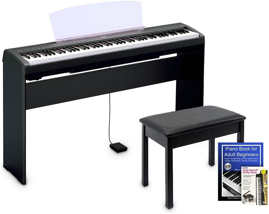 Yamaha P45 Digital Piano Education Bundle, Black with Yamaha Accessories