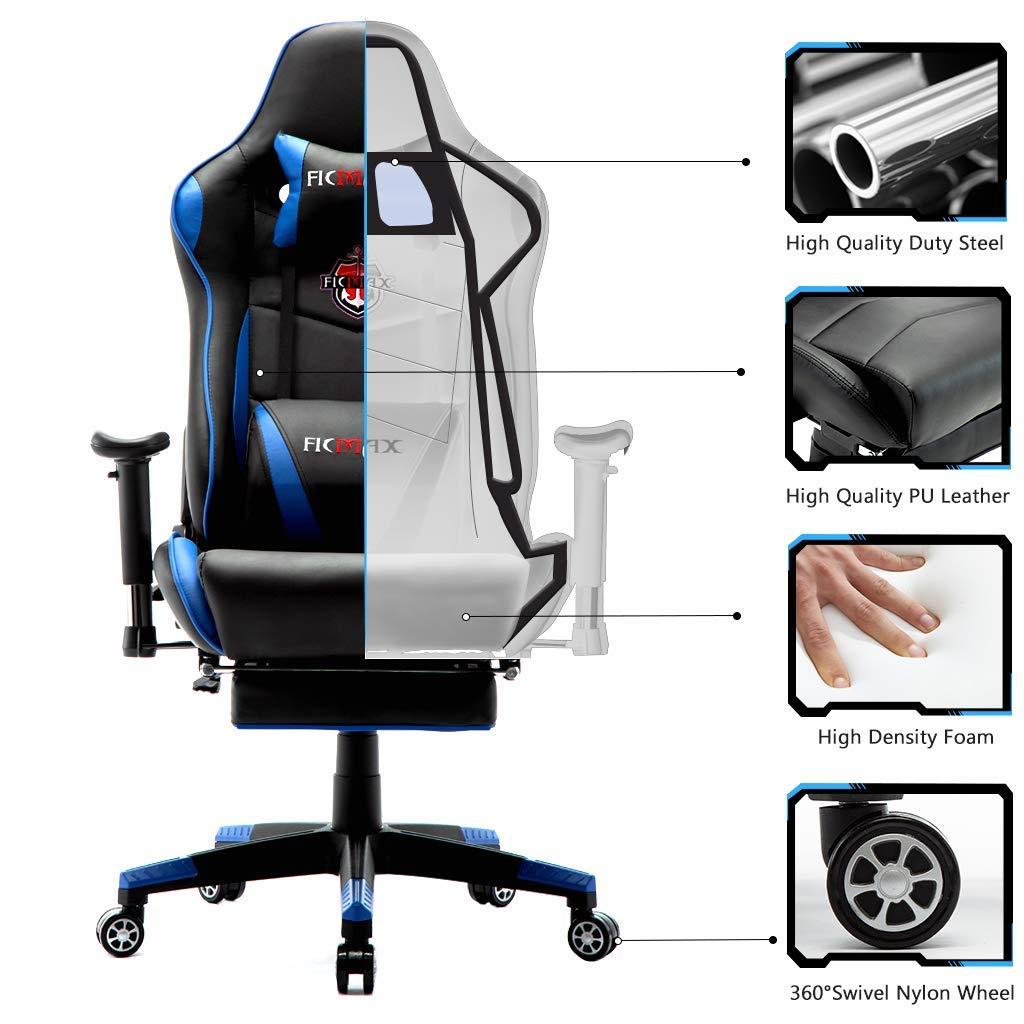 Ficmax Chaise Gaming Ergonomique de Massage Fauteuil de Bureau Pro Gamers Fauteuil Gaming avec Repose Pied Racing Inclinable avec Support Lombaire Chaises en Cuir E-Sports