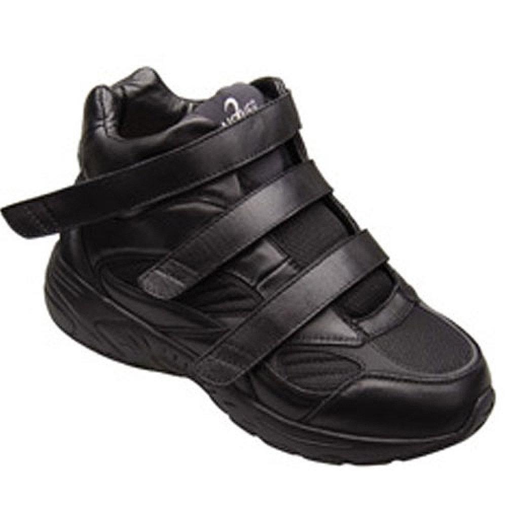 Apis Answer2 551-1 Men's Therapeutic Extra Depth Shoe Leather Velcro B00HB9E60I -7.0 Medium (D) Black Velcro US Men|Black