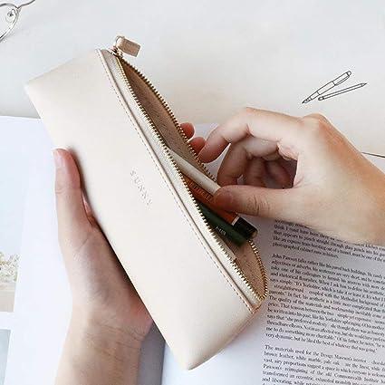 Estuche de lujo de Chlasign, de piel sintética, con diseño triangular, pequeño, para maquillaje, escuela, oficina, color beige: Amazon.es: Oficina y papelería