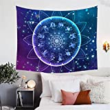 BlessLiving Zodiac Tapestry Lotus Mandala Tapestry Wall Hanging Floral Decorative for Bedroom Living Room (59 x 51 Inches)