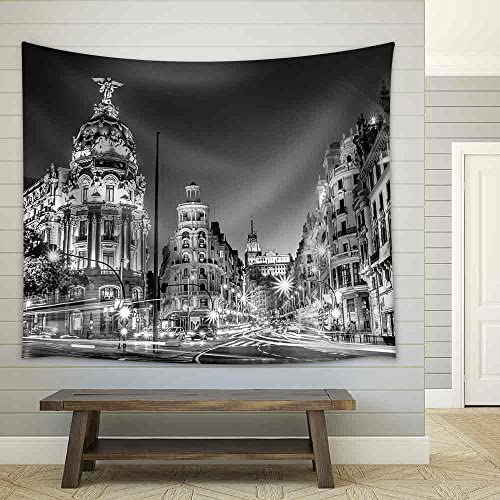 Rays of Traffic Lights on Gran Via Street Main Shopping Street in Madrid at Night Spain Europe Fabric Wall