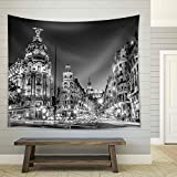 wall26 - Rays of Traffic Lights on Gran Via Street, Main Shopping Street in Madrid at Night Spain, Europe - Fabric Wall Tapestry Home Decor - 68x80 inches