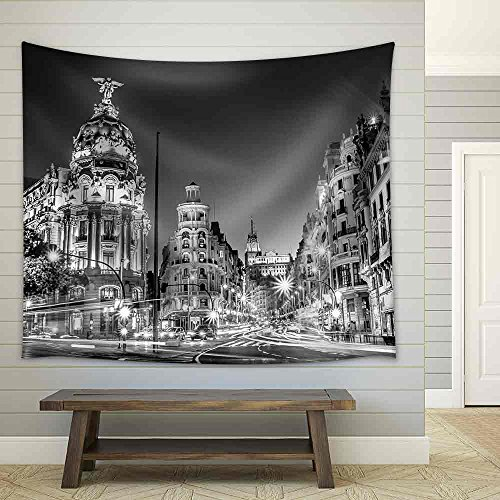 wall26 - Rays of Traffic Lights on Gran Via Street, Main Shopping Street in Madrid at Night Spain, Europe - Fabric Wall Tapestry Home Decor - 68x80 inches by wall26