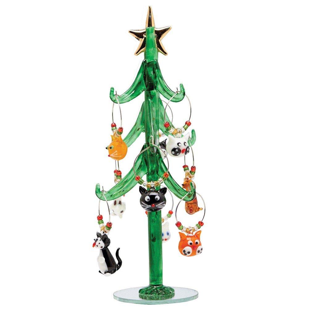 Amazon.com | Glass Christmas Tree with Cat Wine Charm Ornaments-9 ...