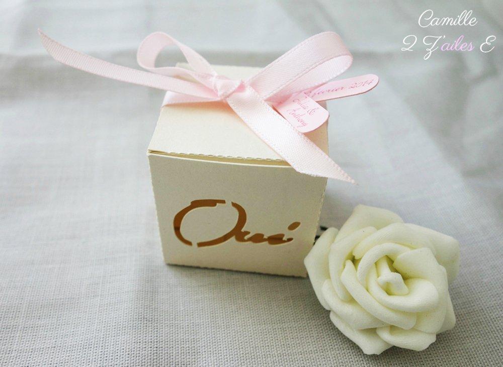 Contenant à dragées pour mariage - Lot de 5 boites Oui