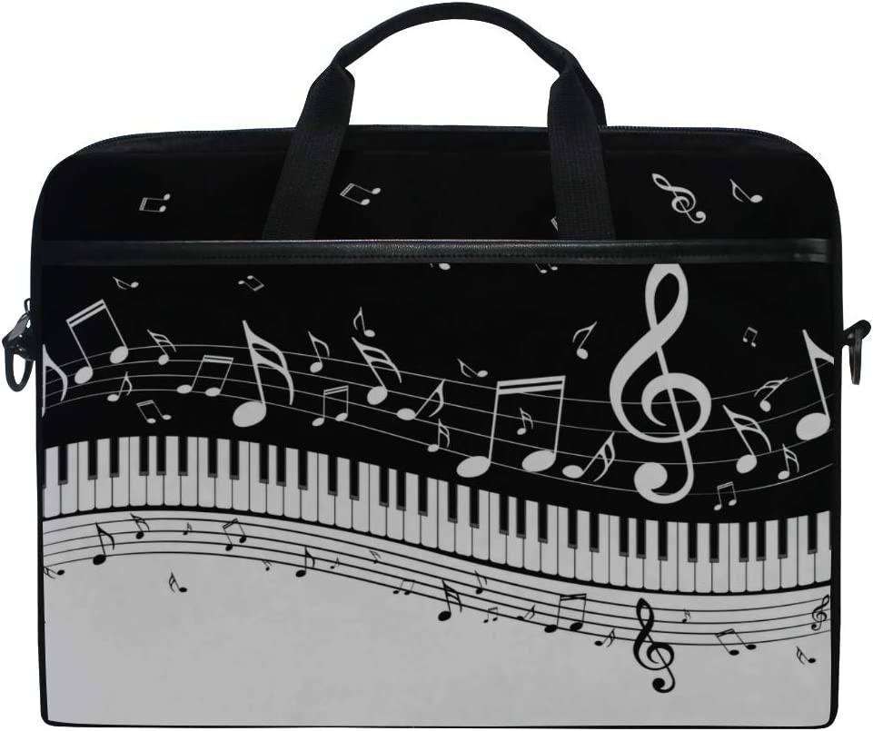 College Students Business People Office Laptop Bag Piano Keys Musical Notes 15-15.4 Inch Laptop Case Briefcase Messenger Shoulder Bag for Men Women