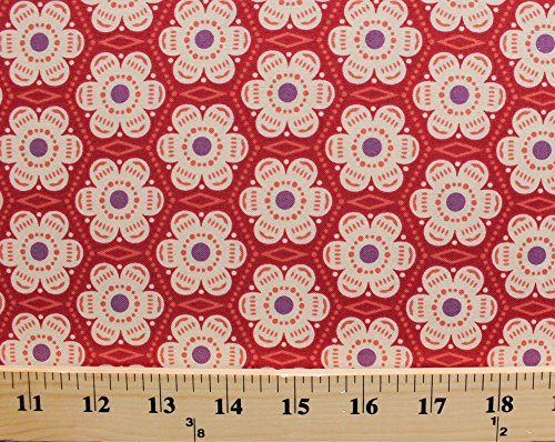 (Cotton Flowers Floral Blossoms Geometric Garden Spring Folk Song Anna Maria Horner Little Honey Cotton Fabric Print by the Yard (pwah091-berry) )
