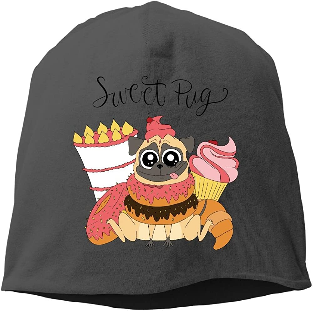 Janeither Headscarf Sweet Pug Dog Hip-Hop Knitted Hat for Mens Womens Fashion Beanie Cap