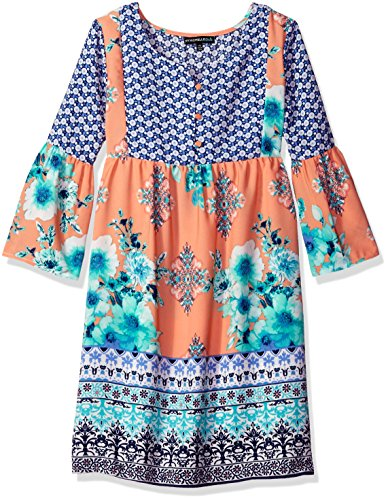 My Michelle Big Girls' Contrast Print Bell Sleeve Dress with Button Front, Light Coral, 7 (Michelle Clothes My)
