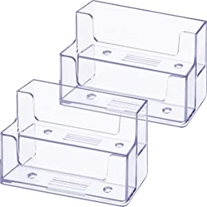 Onwon 2 Pieces Clear Business Card Holder 2 Tiers Plastic Card Stand Organizer Card Holder Display for Home Office, 120 Cards Capacity