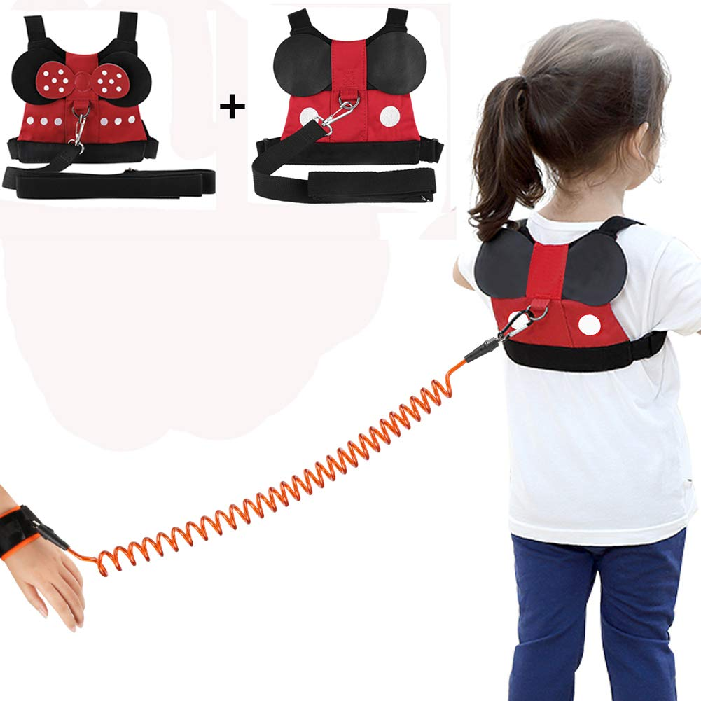 Accmor 2 Pack Kid Safety Harness Leash, Toddler Safety Harnesses Leashes + Anti Lost Wrist Link, Baby Safety Harness Cute Toddler Safety Leash & Harness for 1-5 Years Girls to Zoo or Mall