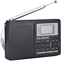 Portable FM/AM/SW/LW/TV Radio, Digital Radio with Clock and Alarm Function Portable Wireless, Light Weight, and Easy to Carry(步进值10K)