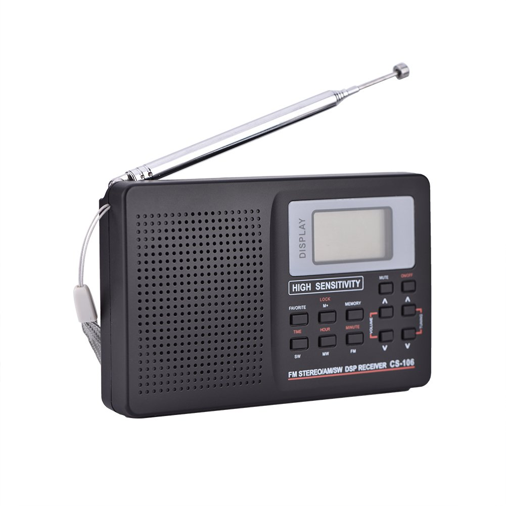 Aramox FM/AM/SW/LW/TV Sound Radio Full Frequency Receiver Receiving Portable Radio Alarm Clock(Type 1)