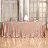 3e Home 90×156'' Rectangle Sequin TableCloth for Party Cake Dessert Table Exhibition Events, Rose Gold