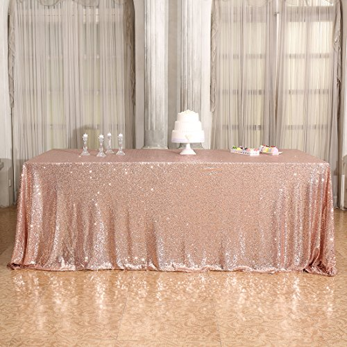 3E Home 50×72'' Rectangle Sequin TableCloth for Party Cake Dessert Table Exhibition Events, Rose Gold