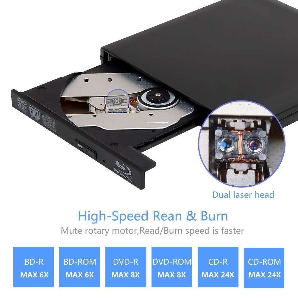 External 4K 3D Blu Ray DVD Drive Burner, Portable Ultra Slim USB 3.0 Blu Ray BD CD DVD Burner Player Writer Reader Disk for Mac OS, Windows 7/8/10,Linxus, Laptop by MOGLOR (Image #3)