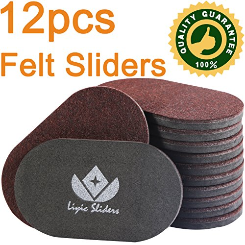 Liyic 12 Pack 6in. X 3.5in.Reusable Brown Oval Felt Furniture Sliders for Hard Surfaces.Premium Heavy Furniture Movers for Wooden Floor,Furniture Felt Slider Heavy Duty Felt Sliders Hard Floor Slider by Liyic (Image #3)
