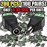VENTECH 100 Pair (200 unit) 5.5mm x 2.1mm 12V DC Power Jack Connector Adapter Adaptor (100 x Male and 100 x Female) for Single Color LED Strip Lights CCTV Camera extra