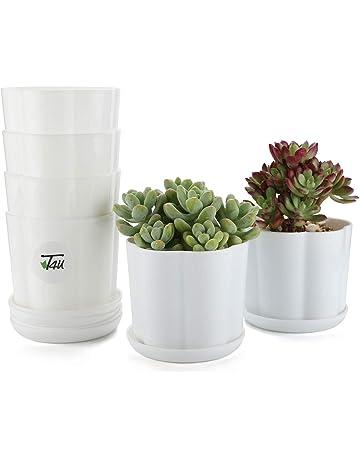 T4U 9.8CM Macetas de Vivero Plastico con Plato, Maceteros Pequeños para Cactus Suculento Blanca