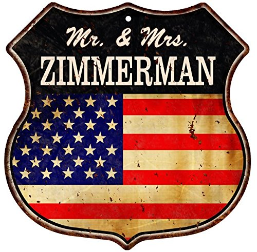 American Flag MR. & MRS. ZIMMERMAN Family Name Metal Sign Ho