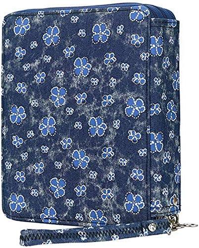 Kamenda - Estuche Oxford con funda para bolígrafo de tela con compartimentos para lápices para acuarela de lápices (120 unidades), diseño de flores, color azul: Amazon.es: Oficina y papelería