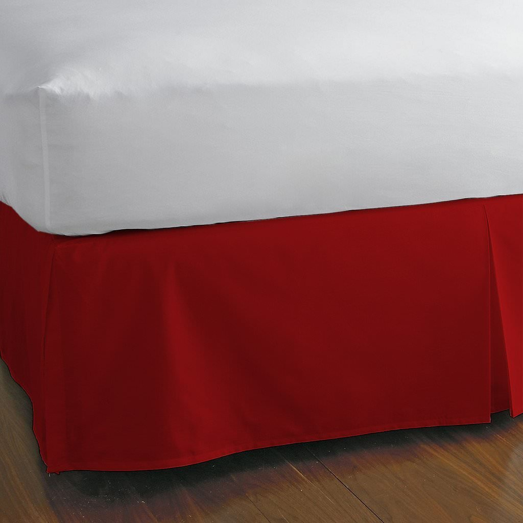 Precious Star Linen Sale 750TC Single Ply Egyptian cotton Twin Size 1pc Split Corner Bed Skirt With 18 Inch Drop Length, Red Solid