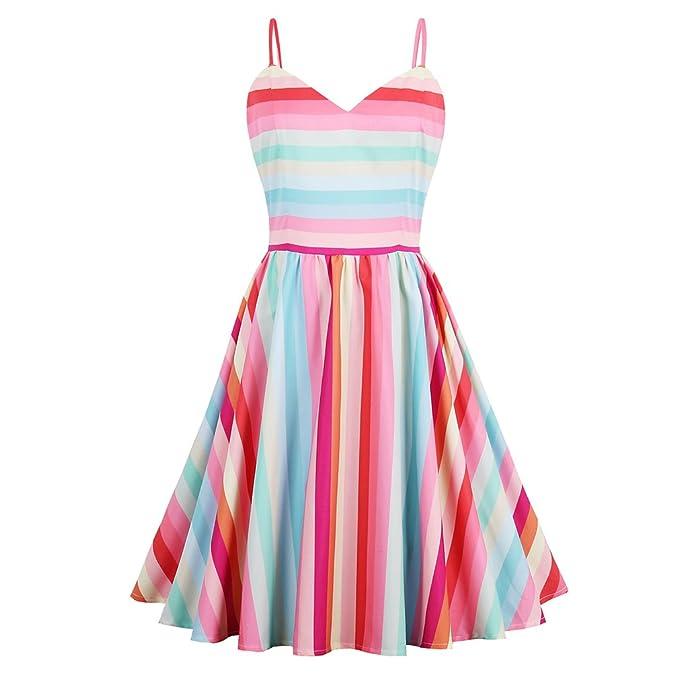 Belleza Vintage vestidos patchwork Rainbow bandas retro vestido de verano sin mangas mujer elegante vestido de