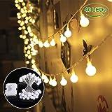 B-right Cadena de Luces, Guirnaldas Luces Globo 4.5M 40 LED Blanco Cálido, 8 Modos de Luces, a Pilas, Impermeable, Luces Decoración para Jardín, Habitación, Navidad, Fiesta, Boda, Cumpleaño,etc