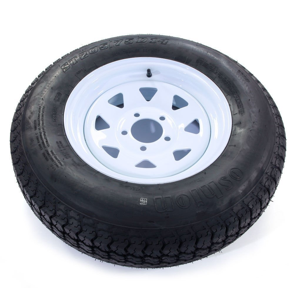 Set of 2 14'' White Spoke Trailer Wheel with Bias ST205/75D14 Tire Mounted (5x4.5) bolt circle