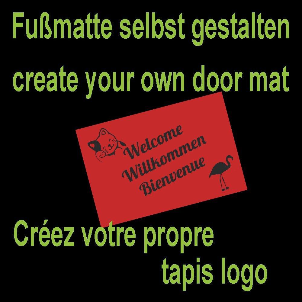 Braun 115 x 200 cm WohnDirect Fußmatte selbst gestalten I Geschenk mit ihrem Namen Bild   Logo I große Auswahl, (115x200cm Braun)