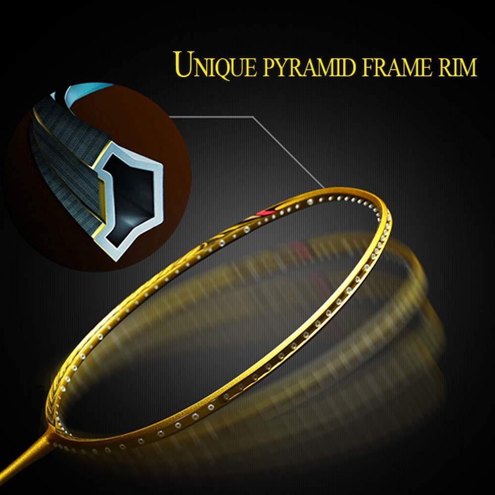 Senston N80 Graphite High-Grade Badminton Racquet,Professional Carbon Fiber Badminton Racket Included Black Gold Color Rackets 2 Carrying Bag by Senston (Image #6)