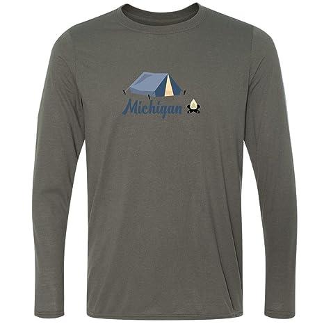 Amazon.com: Camping & Camp Fire - Michigan Mens Moisture Wicking Long Sleeve T-Shirt: Clothing