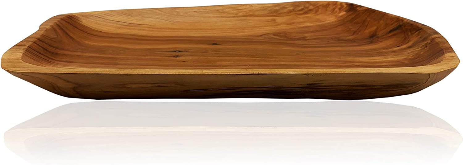 Root Wood Serving Tray, Unique Handmade Root Carved Dish, Natural Wooden Platter for Furit Snack Bread Appetizer Display (13.7 INCH)