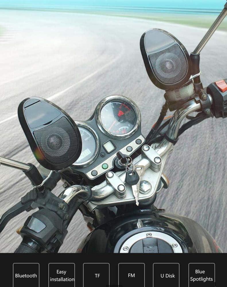 MP3 Altoparlante Stereo Bluetooth Sistema Audio con Luce 1 Paio AQWWHY Motocicletta Impermeabile 12V Sistema Audio motorino per Moto Manubrio TF//FM