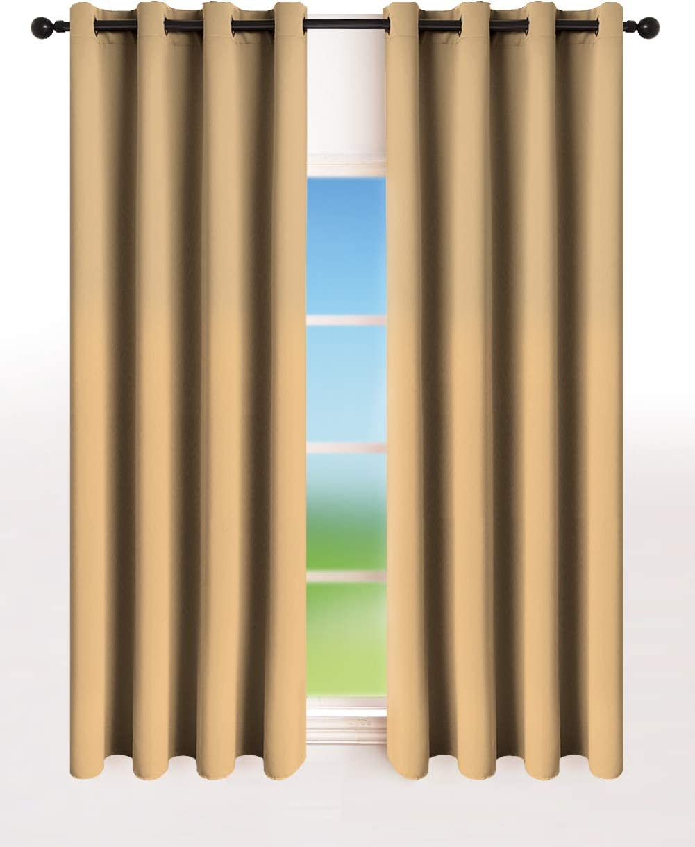 Kinryb Blackout Curtains Panels with Grommets , Room Darkening Thermal Insulated Drapes for Living Room and Bedroom (Set of 2 Panels , 52 by 72 Inches , Beige)