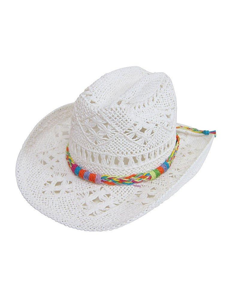 WonderfulDress Kid's Woven Straw Cowboy Hat with Braid-White-One Size