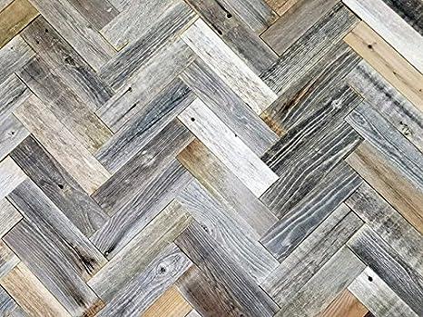Amazon Com Vinta Wood Herringbone Reclaimed Barnwood Wall Planks