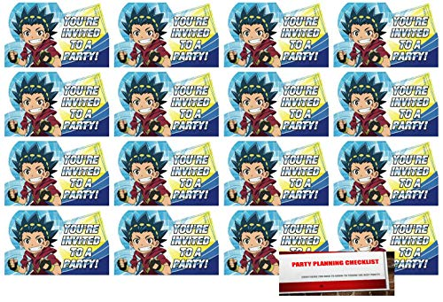 16 Beyblade Postcard Invitations Birthday Party Supplies Value Pack plus Party Planning Checklist by Beyblade MSS