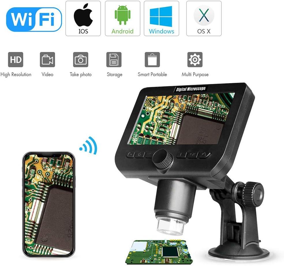 Meiqqm Microscopio Digital WiFi, 1000 x 2 MP, microscopio inalámbrico WiFi de 4,3 Pulgadas, Pantalla HD de 8 ledes 1080p, Lupa con Base de Ventosa para iOS Android Windows OS X: Amazon.es: Electrónica