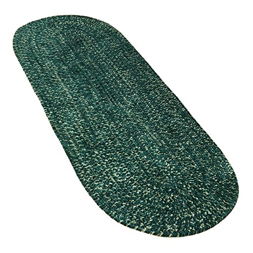 - Collections Etc Reversible Chenille Braided Round Accent Rug, Emerald, 24