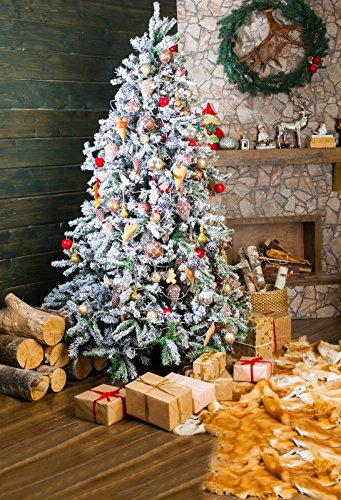 Laeacco 5x7FT Vinyl Backdrop Presents Decorated Christmas Tree Photography Wreath Firewood Toy Gifts Vintage Wall Happy New Year Party Interior Background Newborn Children Photo Studio Prop