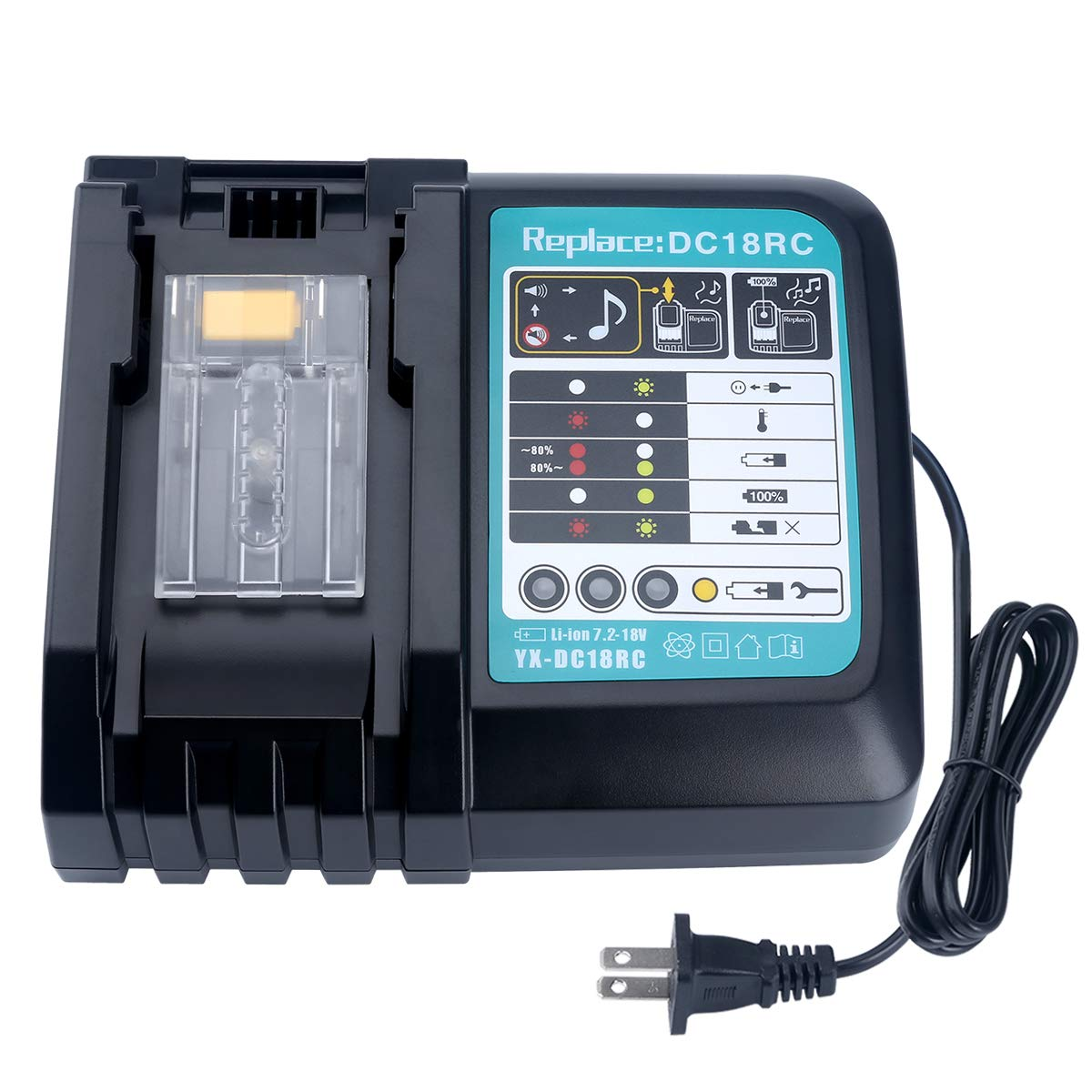 Biswaye 18V Lithium Battery Charger DC18RC DC18RA for Makita 14.4V-18V LXT Lithium-ion Battery BL1815 BL1830 BL1840 BL1850 BL1430 BL1415, 150W High-Power Cooling Fin Inside