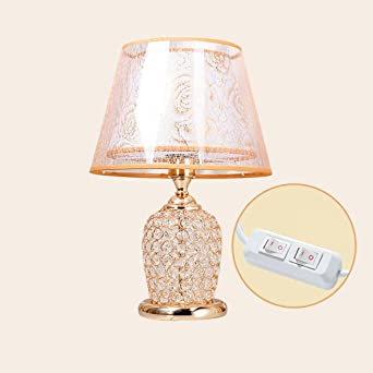 Lovely Luxury Creative Crystal Table Lamp Bedroom Bedside Lamp Double Rose Cover Lamp Body With Eye Protection Led Night Light Mode Amazon De Beleuchtung