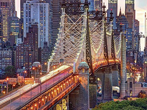 59th Street Bridge Into Manhattan -Oil Painting On Canvas Modern Wall Art Pictures For Home Decoration Wooden Framed (20X16 Inch, Framed)