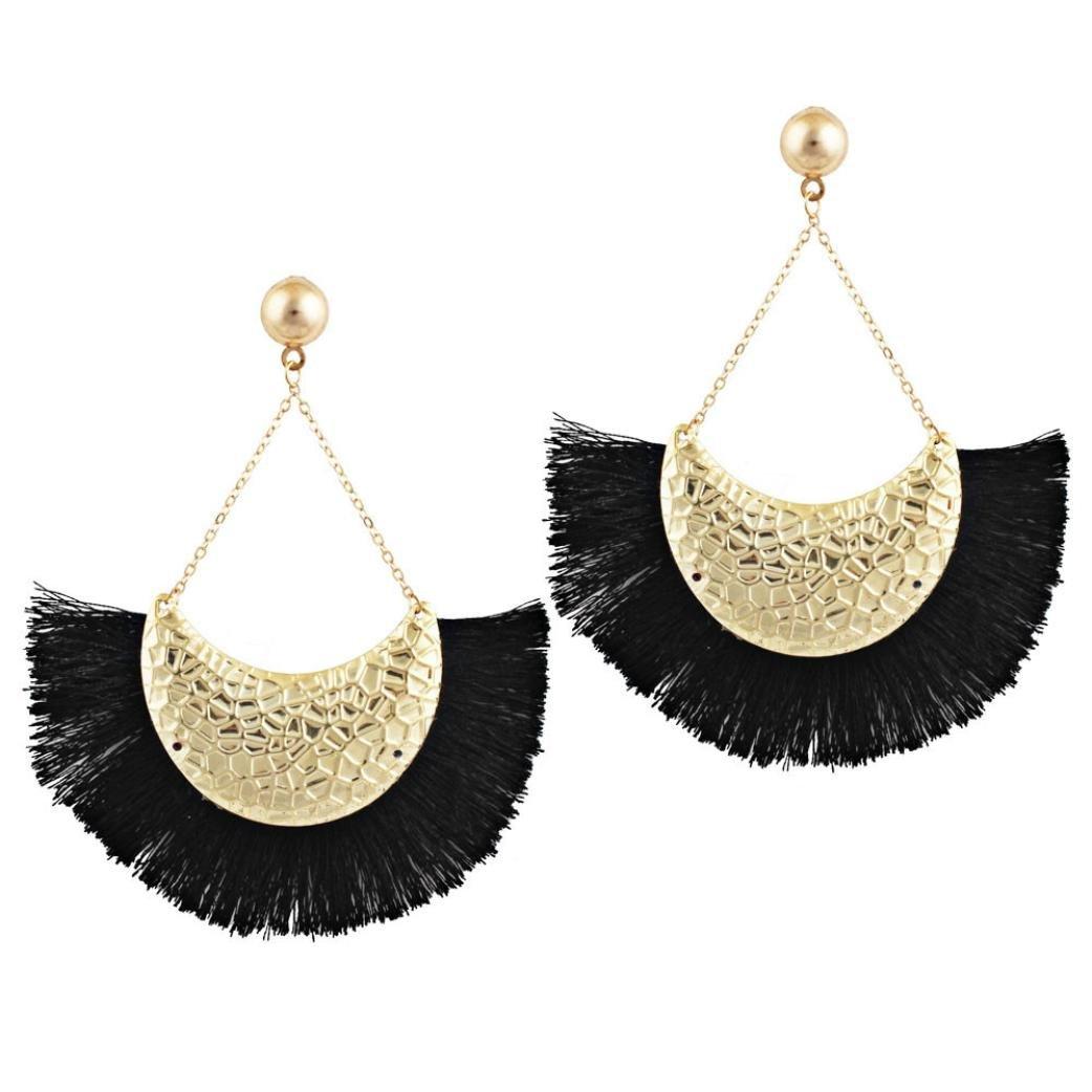 RTYou Simple Earrings, Women's Girls Fan Shape Tassels Dangle Stud Earrings Bohemia Ethnic Eardrop Jewellery (Black)