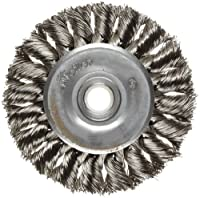 """Weiler Dualife Standard Wire Wheel Brush, Round Hole, Stainless Steel 302, Partial Twist Knotted, 3"""" Diameter, 0.014"""" Wire Diameter, 1/2-3/8"""" Arbor, 5/8"""" Bristle Length, 3/8"""" Brush Face Width, 25000 rpm"""